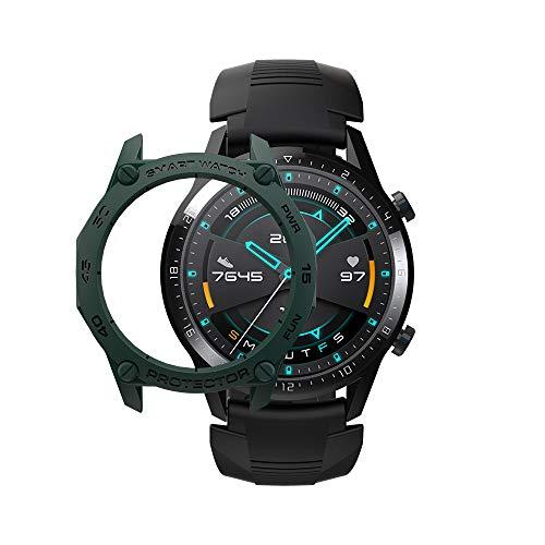SIKAI CASE Ultradunne beschermhoes compatibel met Huawei Watch GT 2 46mm Smartwatch, zachte TPU flexibele beschermers, anti-kras schokbestendig Slim Bumper Frame Shell, ArmyGreen & Black