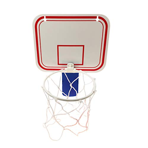 "TaktZeit Office Basketball Hoop Clip for Trash Can Basketball Game Small Basketball Board Clip for Waste Basket in Restroom Bed Room Bathroom and Office (Blue/White, 6.3"" x 7.9"")"