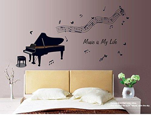 ufengke® Mode Musik Klavier Musiknote Wandsticker, Wohnzimmer Schlafzimmer Entfernbare Wandtattoos Wandbilder