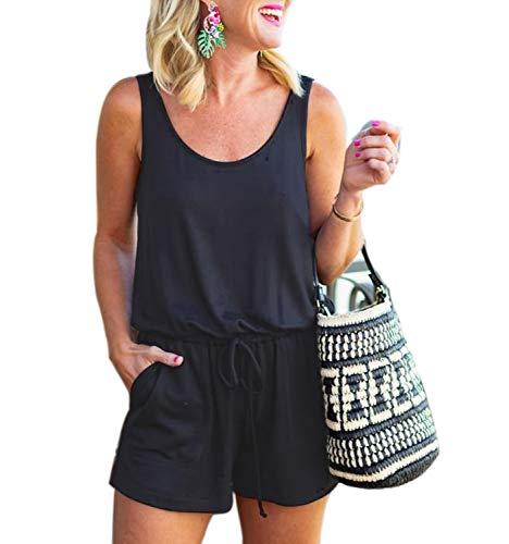 Mingriya Women's Summer Solid Jumpsuit Casual Loose Sleeveless Jumpsuit Rompers with Pockets Elastic Waist Playsuit (Black, Large)