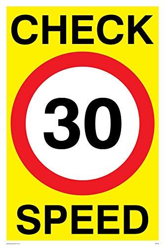 """Preisvergleich Produktbild Viking Schilder pr548-a4p-v""""Check 30 Speed""""-Zeichen,  Vinyl,  300 mm H x 200 mm W"""