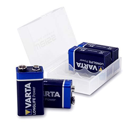 4er-Pack Varta LONGLIFE Power (vormals: High Energy) 4922 Batterie 9V Block Batterien in wiederverschließbarer Batteriebox von Weiss - More Power +
