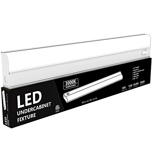 """Hardwired LED Under Cabinet Task Lighting - 16 Watt, 24"""", Dimmable, CRI>90, 3000K (Warm White), Wide Body, Long Lasting Metal Base with Frost Lens"""