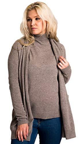 cashmere 4 U 100% Cashmere Open Front Cardigan Coat for Women (Grege, L)