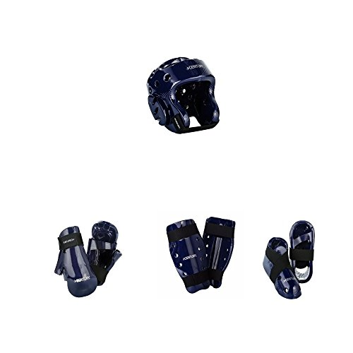 Century Karate 7 pc Sparring Gear Combo Set with shin guards blue child medium