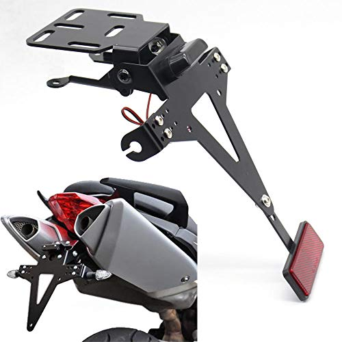 TOOGOO Soporte Sostenedor De Marco De Número De Matrícula De ángulo Ajustable De Motocicleta Para Yzf R1 R3 R6 R15 R25 Fz6 Mt-07 Mt 07
