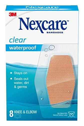 Nexcare Waterproof Clear Bandages for Knee and Elbow, 8-Count Packages (Pack of 24)