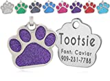 io tags Pet ID Tags, Personalized Dog Tags and Cat Tags, Custom Engraved, Easy to Read, Cute Glitter Paw Pet Tag (Purple)