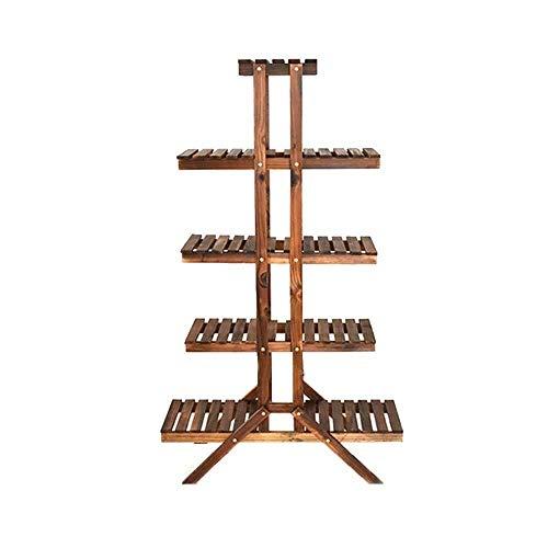 YLongFEI - Soporte para flores de madera con 5 niveles para plantas y plantas de múltiples capas, para macetas, almacenamiento para interior y exterior, ideal para el hogar, jardín, patio, Asado de carbono, talla única