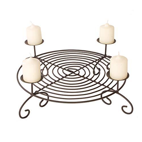 Adventskranz Metall Durchmesser 50 cm mit Kerzenteller zum Advent | schön zum Dekorieren mit Tannenzweigen oder Christbaumkugeln | auch als Plätzchenteller verwendbar | stabiler Kerzenhalter