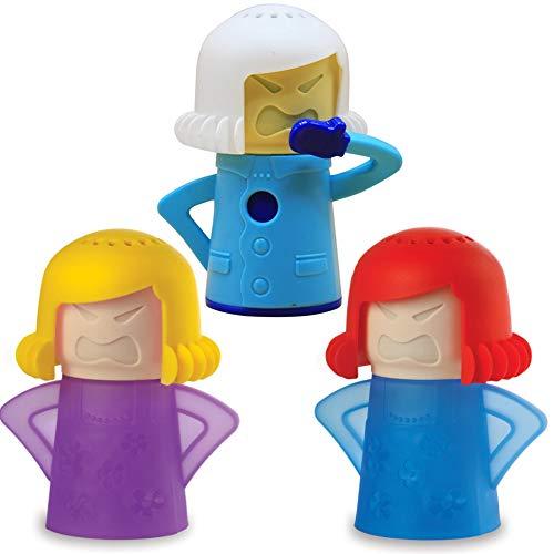 BAIBEI Angry Mama Limpiador de Microondas, Limpiador de Vapor de Acción Rápida de Cocina Elimina con Agua y Vinagre Desinfecta para Hogar sin detergente, 3 pcs