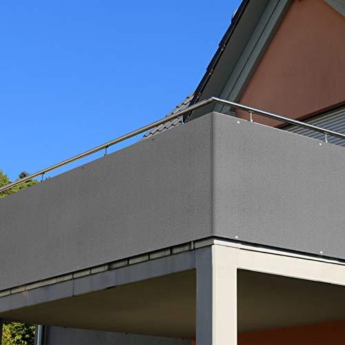 RATEL Balkon Sichtschutz, 75 x 500 cm Balkonbespannung, für Balkon Garten Terrassen Hof UV-Schutz, Windschutz, Wasserdicht, Sonnenschutz Sonnenschutz Schattiernetz, Mit Kabelbinder Und Seil