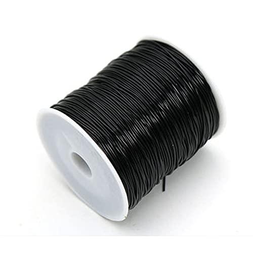 JKGHK Hilo elástico de poliéster,Negro para Hacer Adornos con abalorio como Pulseras y Otras Manualidades, de 0,8 mm, 100 m,1.2mm