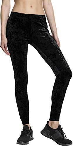 Urban Classics TB1734 Damen Ladies Velvet Leggings Schwarz (Black 7), W28/L32(Herstellergröße: M)