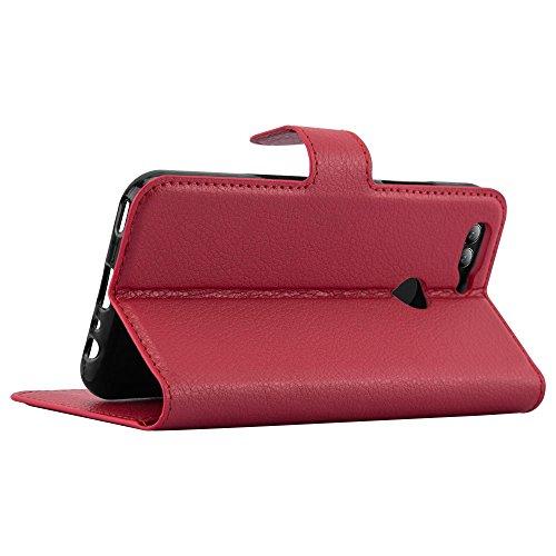 Cadorabo Hülle für Huawei NOVA 2 - Hülle in Karmin ROT – Handyhülle mit Kartenfach und Standfunktion - Case Cover Schutzhülle Etui Tasche Book Klapp Style - 6