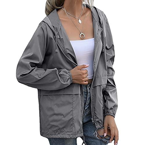 SELILALI Chaquetas de lluvia impermeables para mujer para senderismo al aire libre con capucha y bolsillos