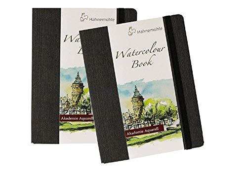Libro de acuarela Hahnemuhle creativo, 2 unidades, juego de acuarelas de bolsillo, tapa dura negra de 200 g/m², 30 hojas/60 páginas, A5, acuarela, con postal de Francia