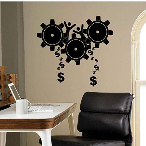 Zahnräder Business Wandtattoo Steampunk Zahnrad Vinyl Aufkleber Wand Büro Schule Teamwork Wanddekor Wandbild Haushaltswaren 45X42Cm
