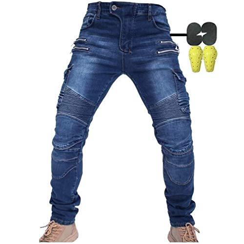 Hombres Pantalones De Motociclismo para Pantalones De Carreras De Motocross con Pantalones Anti Caída,Jeans de Moto, 4 x Equipo de protección (Azul, 34W / 32L)