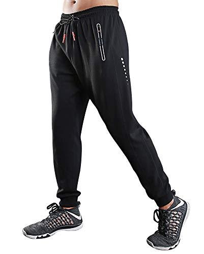 Rdruko Men's Active Gym Joggers Pants Workout Running Sweatpants(Black,US L)
