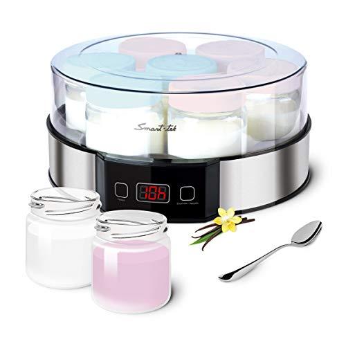 Smart-Tek Yogurtera indicador LED de Tiempo, Temperatura estable 42º, Apagado automático programable. Capacidad 7 tarrinas de Yogur casero de 180 ml. Exterior Acero Inoxidable.