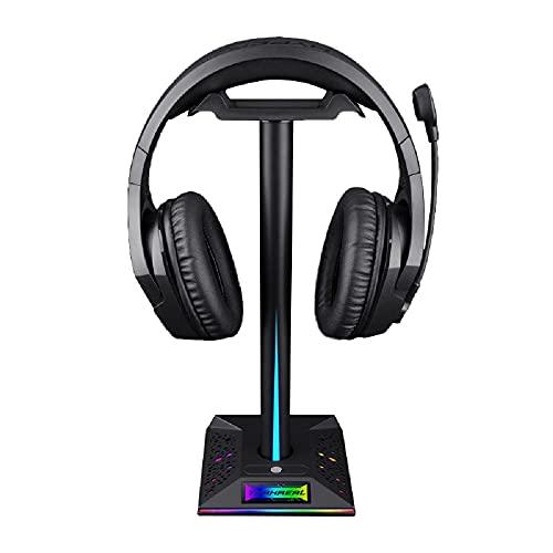 Soporte para auriculares RGB con control de huellas dactilares Escritorio para auriculares RGB para juegos con AUX de 3,5 mm y 2 puertos de carga USB para escritorio de jugador