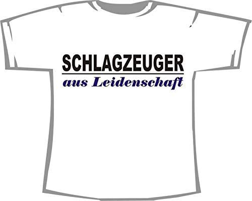 Schlagzeuger aus Leidenschaft; T-Shirt weiß, 44/46; Gr. L; Damen; Unisex