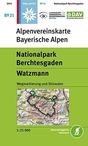 Nationalpark Berchtesgaden, Watzmann: Wegmarkierung, Ski- und Schneeschuhrouten (Alpenvereinskarten)