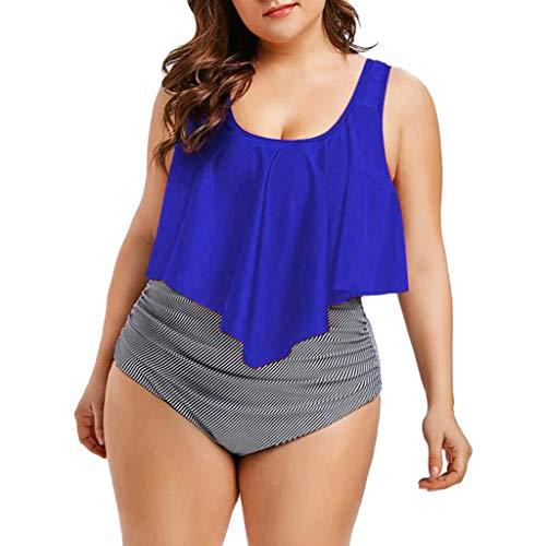 TUDUZ Mujer Tankini De Dos Piezas Bikini Talla Extra Floral Impreso Conjunto De Trajes De Baño (Azul.b, XXXXXL)
