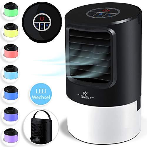 Kesser® 4in1 Mobile Klimaanlage Mini Klimagerät mit 7 Farben LED Farben | Ventilator | Wassertank | Timer | 3 Stufen | Ionisator Luftbefeuchter | Luftkühler | Klein Tragbare, Schwarz