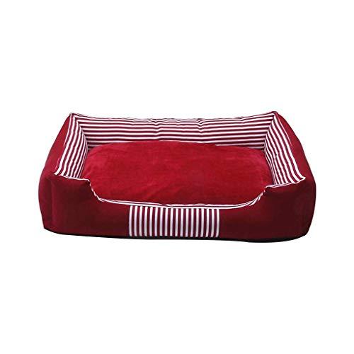 MMAWN Pet Letto autodifondente for Cane Medio Piccolo Peluche rettangolo Nido Cucciolo Cuscino Sacco a Pelo (Rosso) (Size : 90 * 70 * 15cm)