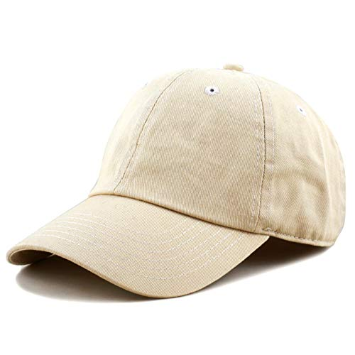 The Hat Depot 300N Washed Cotton Low Profile Baseball Cap (Beige)