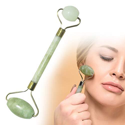 SAMENTHA Dual Heads Jade Face Roller Facial Massage Naturstein Massager Roller Tool Beauty Kosmetik Gesicht Massager Gesicht Massage Tool