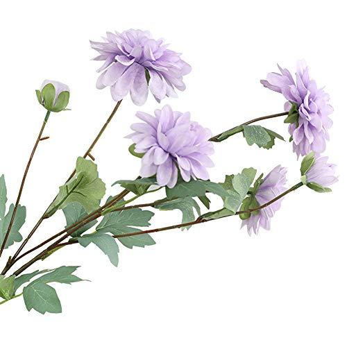Eamoney 1Pc 6-Head Artificial Flowers Flocked Fake Plants, Fake Cloth Dahlia Flower Wedding Party Home DesktopDecoration Decoration - Purple