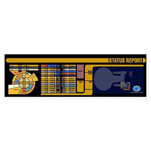 CafePress Star Trek LCARS Status Report 25,4 x 7,6 cm rechteckiger Autoaufkleber