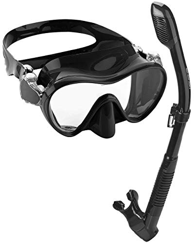 Phantom Aquatics Italian Design Boutique Collection - Tempered Glass Lens Frameless Scuba Snorkeling Dive Mask - Splash Guard Dry Snorkel Set