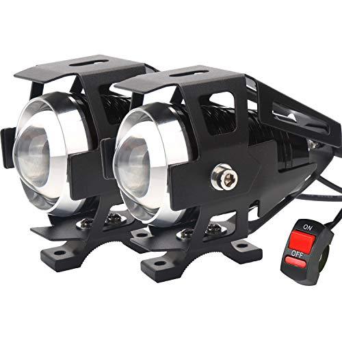 U5 Motorcycle Headlight, Waterproof CREE LED Motorcycle Lights Bulb Fog Headlights LED Driving Light for Bicycle Motorcycle Boat Truck ATV Headlight Travel Camp (Black 3 Modes, 2PCS)
