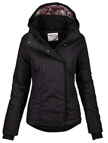 Sublevel Damen Herbst Winter Jacke Parka Mantel Winterjacke Outdoor B167 (Gr.L/Gr.42, Schwarz)
