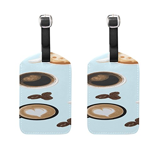 Cup Coffee Sugar Bean Pattern Hart Bear Laughter Pattern Pu Leather Id Tags Business Card Holder Labels Baggage Suitcase Luggage Tags Travel Accessories