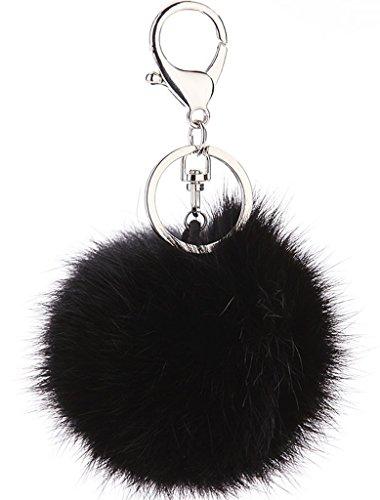 Bigood Weich Fellbommel 8cm Durchmesser Auto Anhänger Spiegel Schlüssel Anhänger Schlüsselring Schlüsselschilder Handtaschenanhänger Schwarz