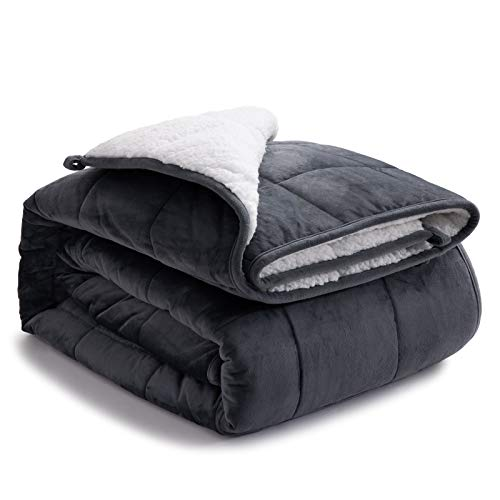 Bedsure Sherpa Fleece Weighted Blanket Queen Size 15 pounds for Adults- Soft Heavy Blanket with Premium Glass Beads (Grey 60x80 inches)