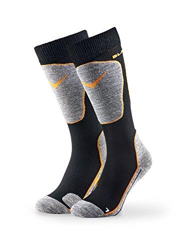 Black Crevice Paire de chaussettes de ski, Mixte, Chaussettes de ski, BCR1133-2-BO, Noir orange, 39-42