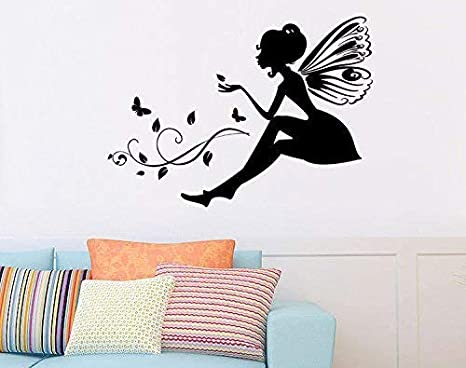 Buy Qisheng Diy Wall Decals Cartoon Cute Wings Girl Fairy Butterflies Home Decor Removable Waterproof Girls Room Decorate Wall Stickers Black Online At Low Prices In India Amazon In