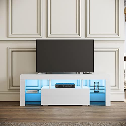 SIRHONA Meuble TV LED Blanc, Banc TV 130x35x45cm, Éclairage LED RGB avec Couleur réglable, Capacité de Charge 30 kg, Convient pour Salon ou Chambre