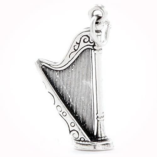 New HARP Pendant Celtic Music Ireland Irish Sterling Silver 3D Charm BB0425UN