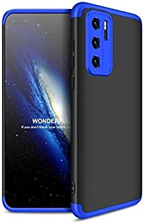 GKK Full Protection Anti-Shock PC 3 PCs Case for Huawei P40 Pro Without Screen Protector (Black-Blue)