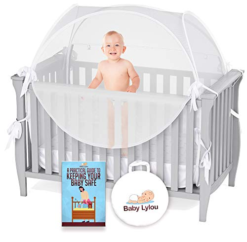 Baby Lylou Safety Pop Up Crib Tent - with Storage Bag and Infant Safety eBook - Canopy Cover to Keep Baby from Climbing Out - Mosquito Net for Crib