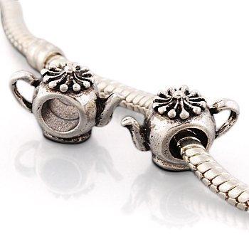 Andante-Stones Silber Bead Charm Teekanne Element Kugel für European Beads Modul Armband + Organzasäckchen