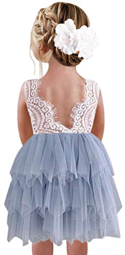2Bunnies Girl Peony Lace Back A-Line Tiered Tutu Tulle Flower Girl Dress (Gray Sleeveless Short, 3T)