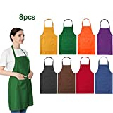 LOYHUANG Total 8PCS Plain Color Bib Aprons Bulk for Women Adult Unisex Durable Comfortable with 2 Front Pockets Washabl Aprons for Cooking Baking Kitchen Restaurant Crafting Colourful